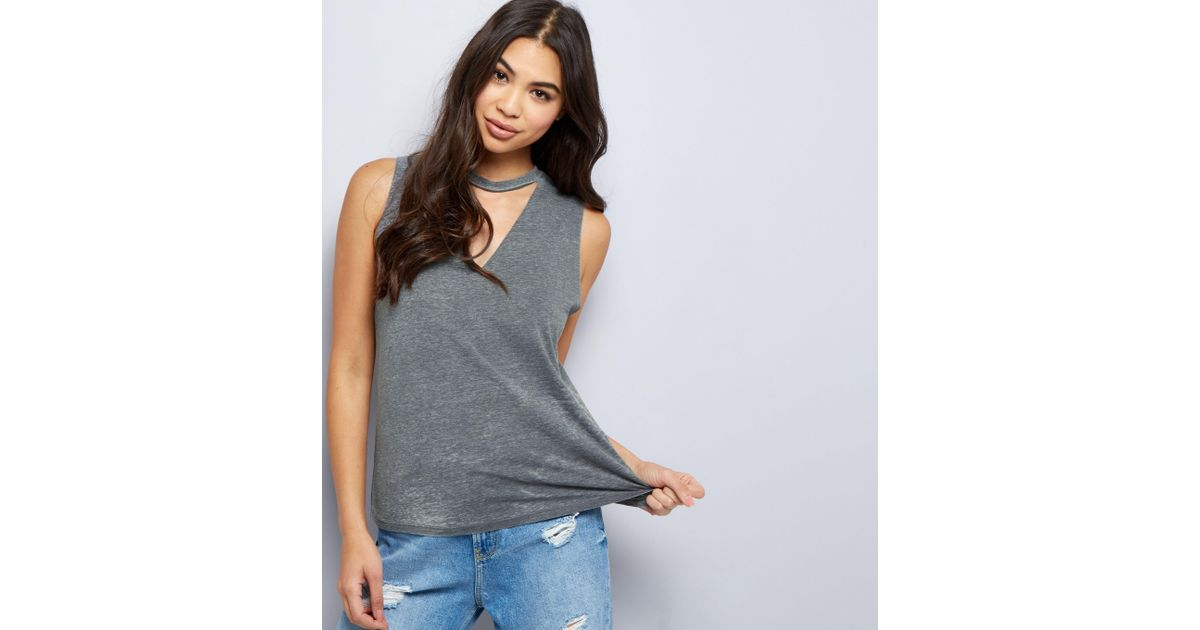 New Look Contrast Ruffle High Neck Tank Top Donna