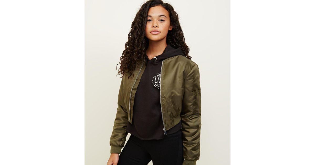 b31285ed2 New Look Green Girls Khaki Satin Cropped Bomber Jacket