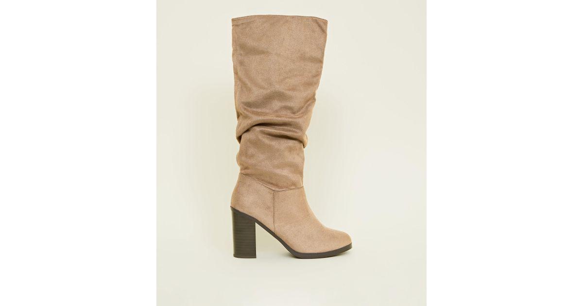 4ad754ec97e2 New Look Light Brown Block Heel Knee High Boots in Brown - Lyst
