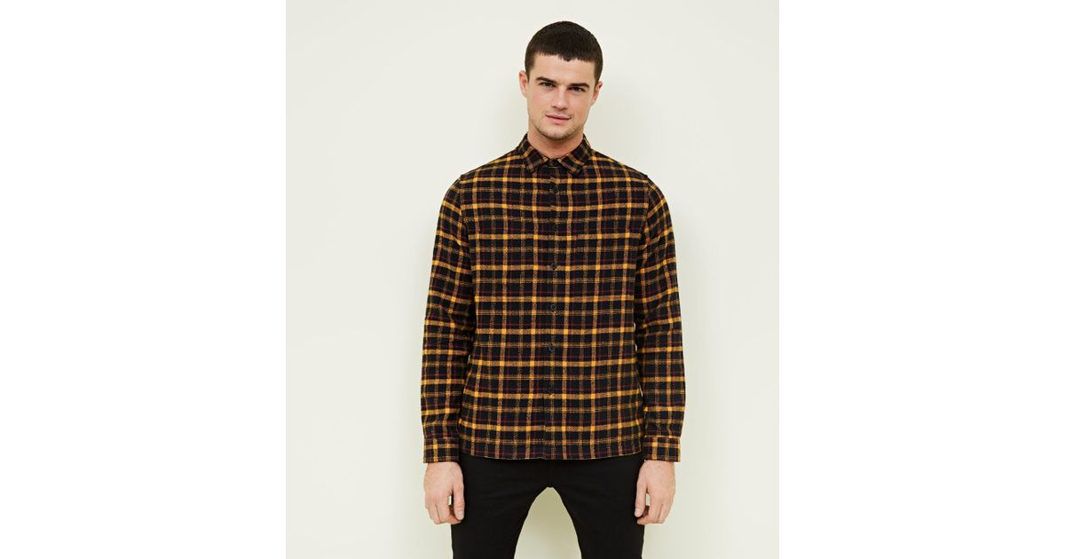 49ef8b31c New Look Mustard Brushed Check Shacket in Brown for Men - Lyst