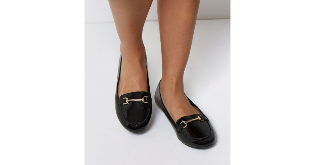 a7c3c4216c93 New Look Extra Wide Fit Black Patent Metal Bar Loafers in Black - Lyst