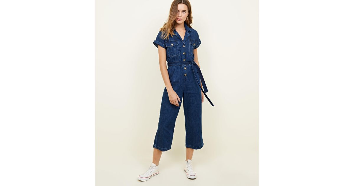 5ac78f74ae8 New Look Blue Rinse Wash Denim Culotte Jumpsuit in Blue - Lyst
