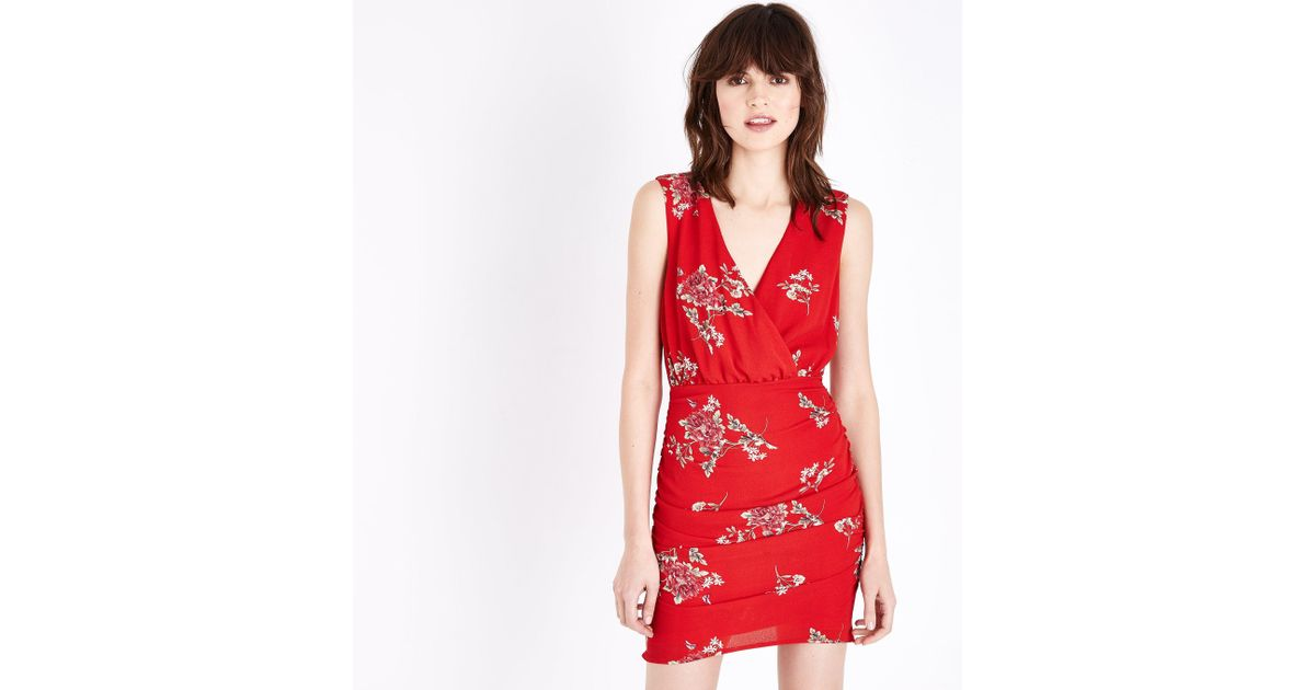 040e30421f New Look Parisian Red Floral Print Plunge Neck Dress in Red - Lyst
