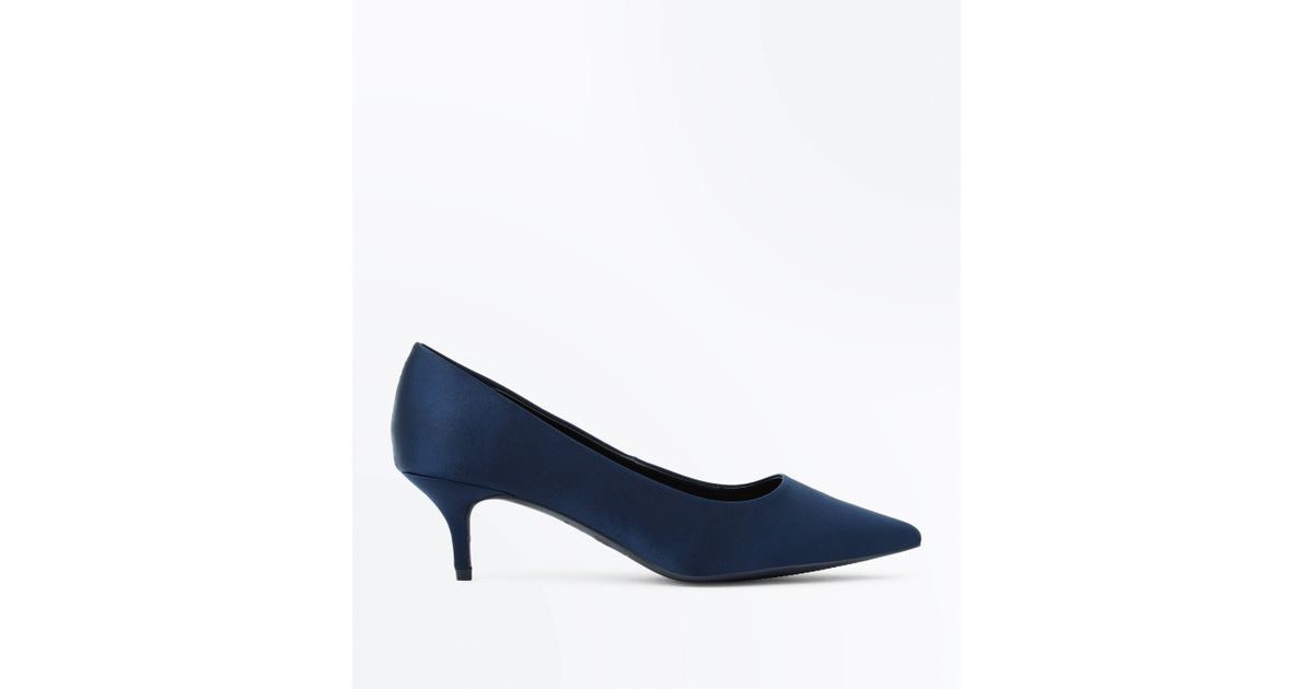 181a41c3186 New Look Wide Fit Navy Satin Kitten Heel Court Shoes in Blue - Lyst