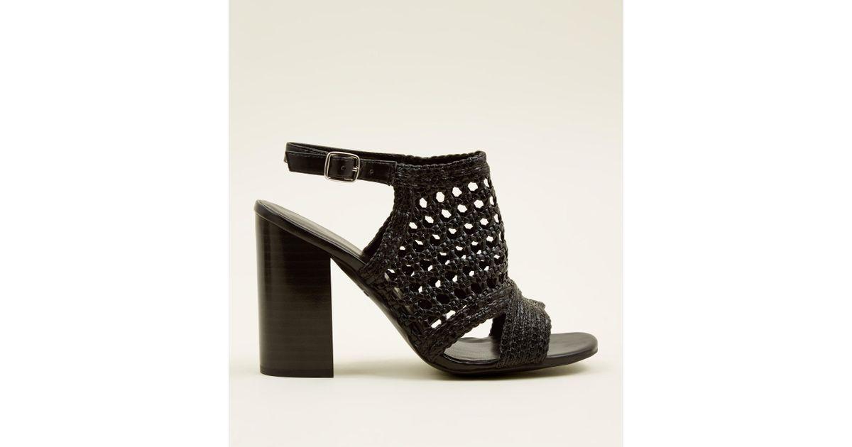 89ba3a520ae New Look Black Leather-look Woven Wood Block Heels in Black - Lyst