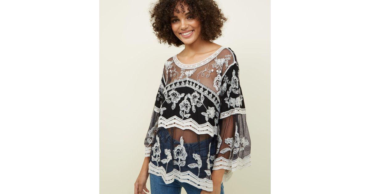 17658b35 Apricot Black Crochet Mesh Bell Sleeve Top in Black - Lyst