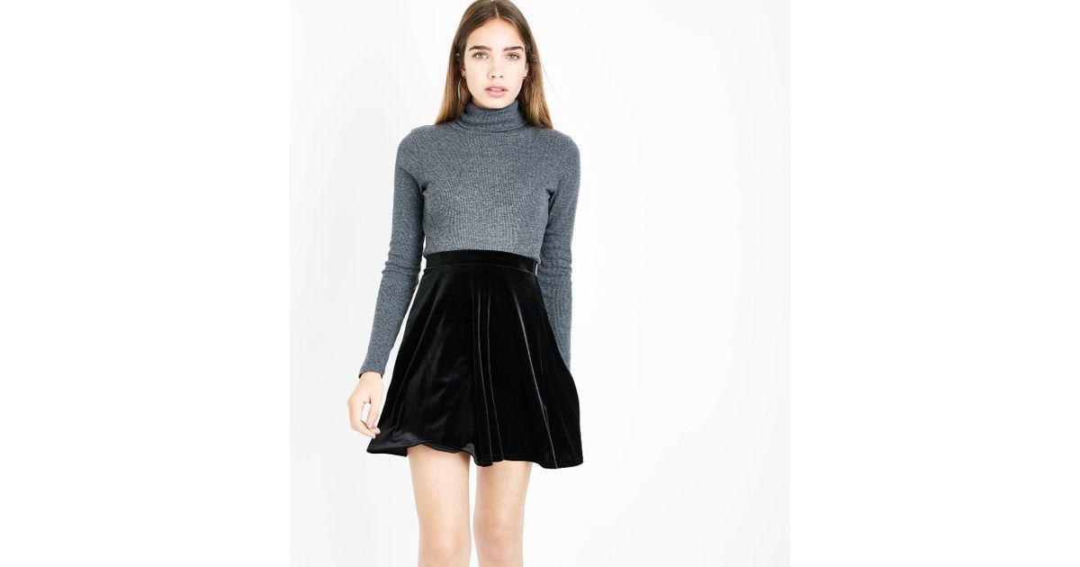 84737ef606 New Look Black Velvet Skater Skirt in Black - Lyst