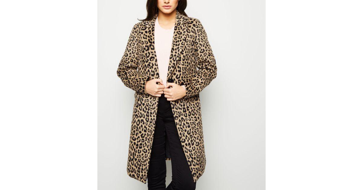6ba915f4ae2 New Look Brown Leopard Print Longline Coat in Brown - Lyst