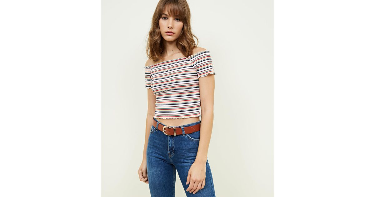 9b974aed06df87 New Look Rainbow Ribbed Bardot Crop Top in Blue - Lyst