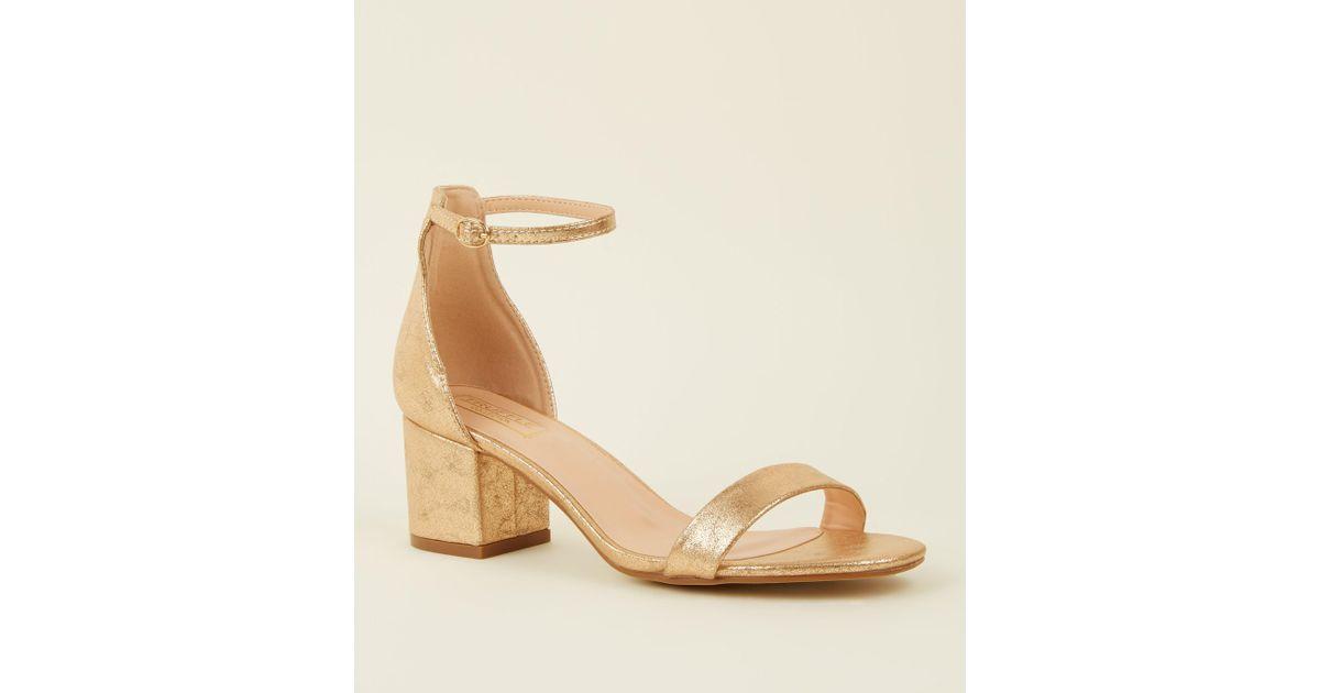 d7f4952ea5e New Look Rose Gold Shimmer Low Block Heel Sandals in Metallic - Lyst