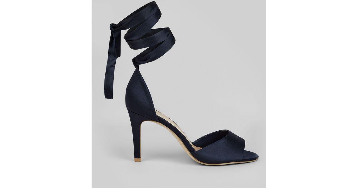 63c68038cf44 New Look Wide Fit Navy Satin Ankle Tie Heels in Blue - Lyst