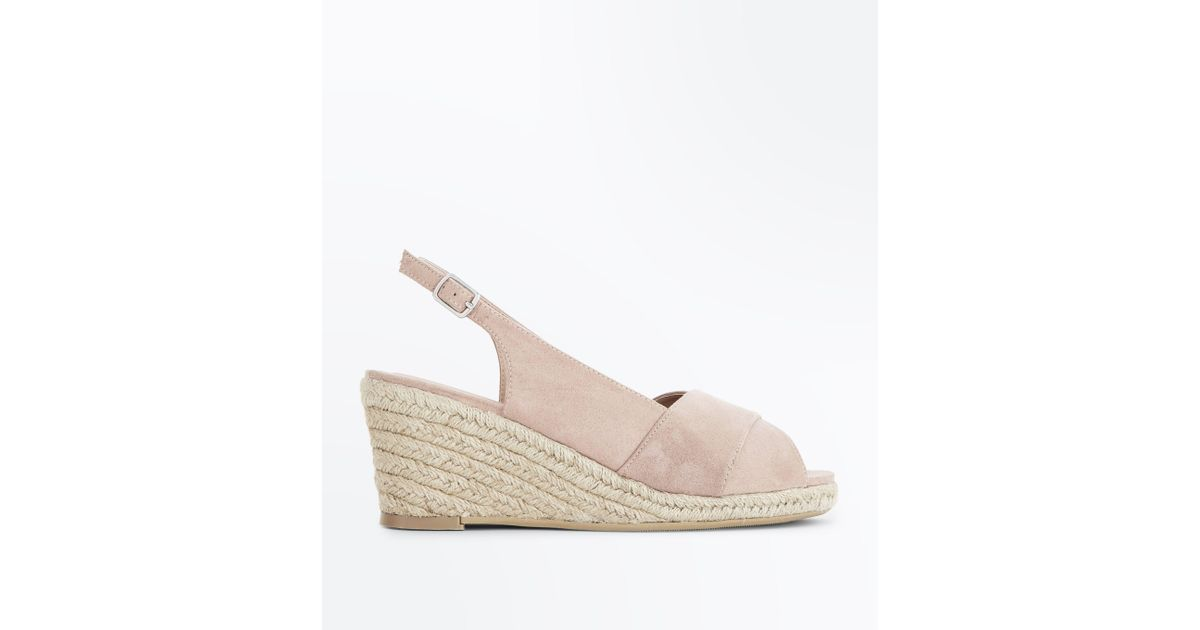 d88705413ce New Look Wide Fit Nude Espadrille Peep Toe Wedges in Natural - Lyst