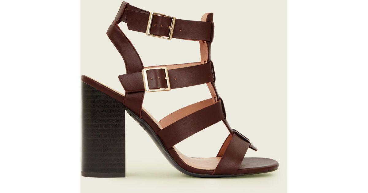 f597c61016e6 New Look Rust Wooden Block Heel Gladiator Sandals in Brown - Lyst