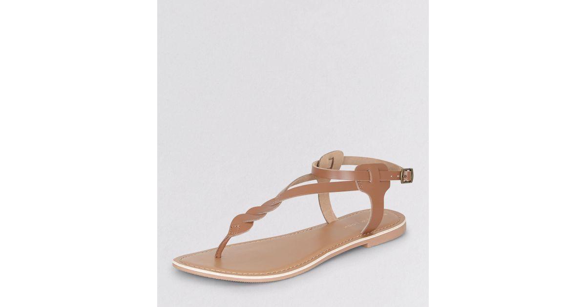 New Look Tan Leather Twist Strap Toe