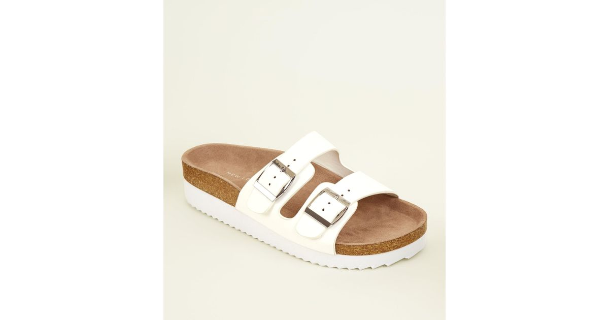 0fe167b3f548 New Look Wide Fit White Double Buckle Strap Footbed Sandals in White - Lyst