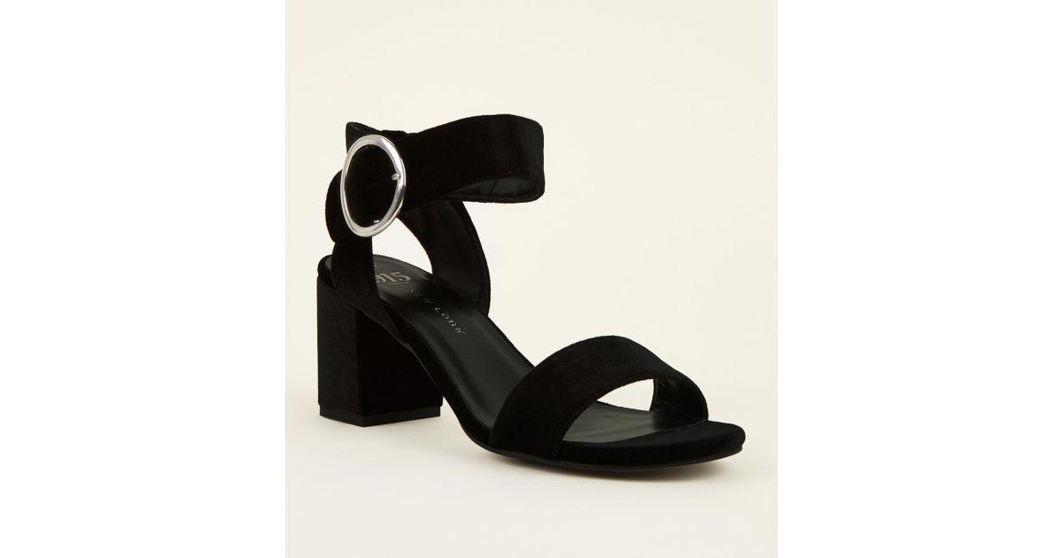 22db39999 New Look Girls Black Velvet Ring Buckle Sandals in Black - Lyst
