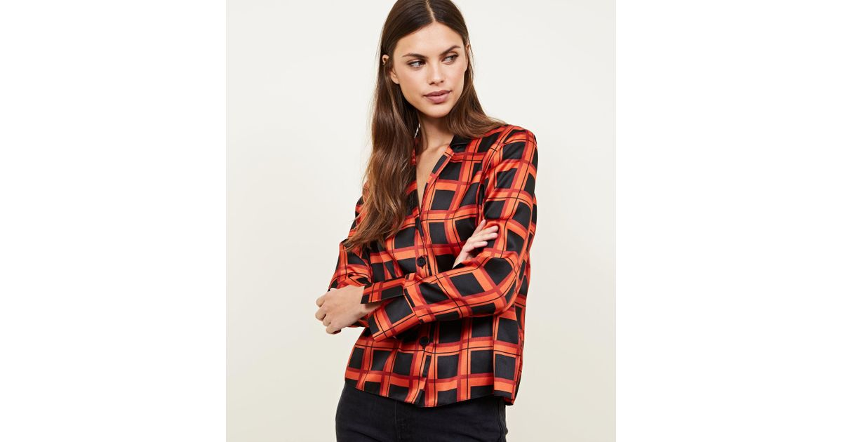 f0ef5f6580d101 New Look Red Grid Check Satin Button Front Shirt in Red - Lyst