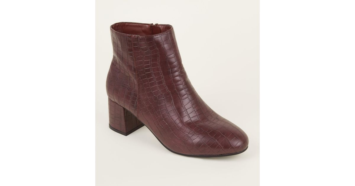 13ca291ae53c New Look Wide Fit Dark Red Faux Croc Block Heel Ankle Boots in Red - Lyst