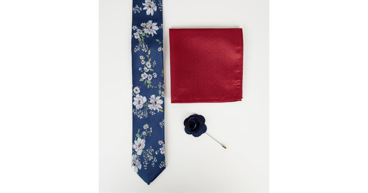 881b375cf180 New Look Tie With Pocket Square And Lapel Pink Set In Navy Floral Print in  Blue for Men - Lyst
