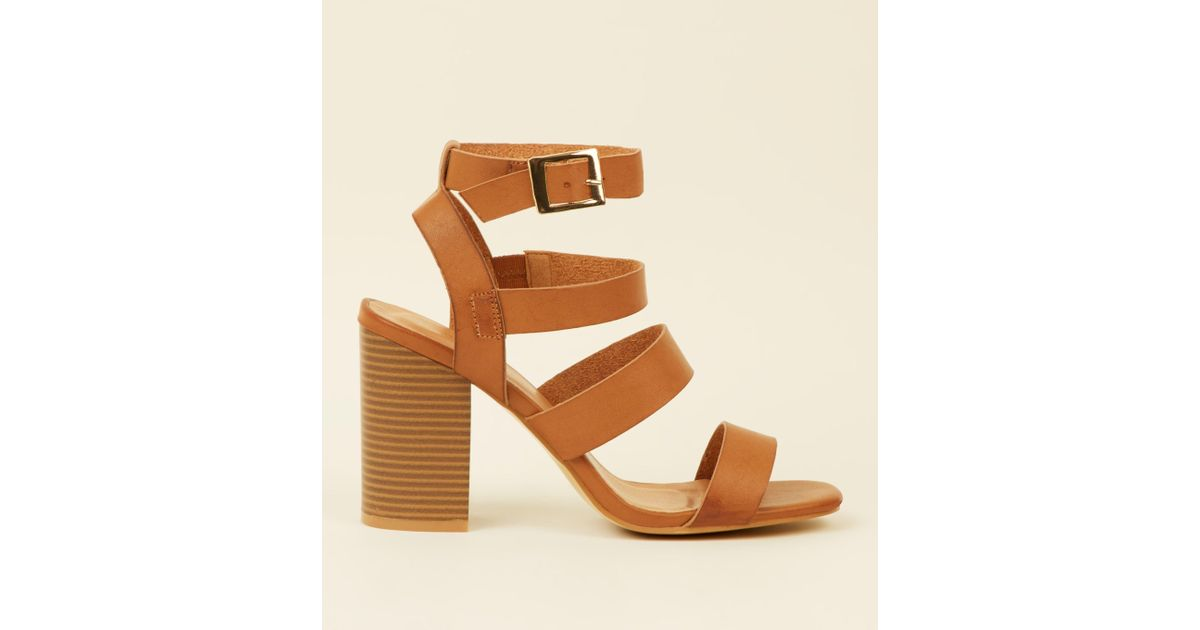 c2f85f3a46f New Look Tan Leather-look Square Toe Strappy Sandals in Brown - Lyst