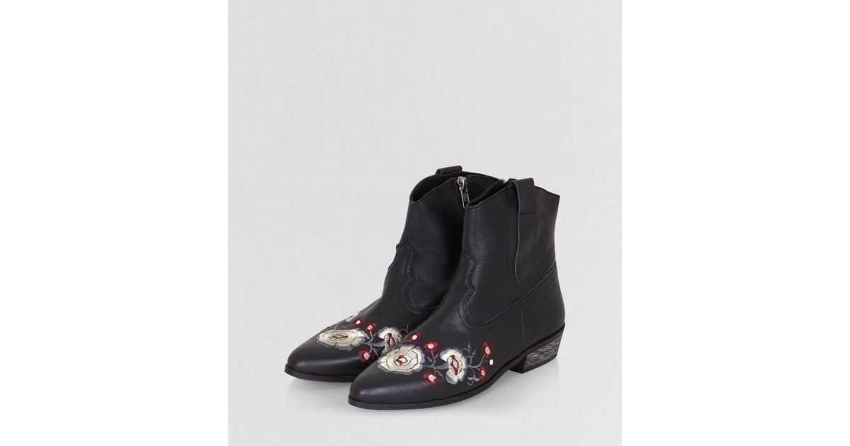 Corral Women's Brown & White Floral Embroidery Square Toe Western Boots  A3526