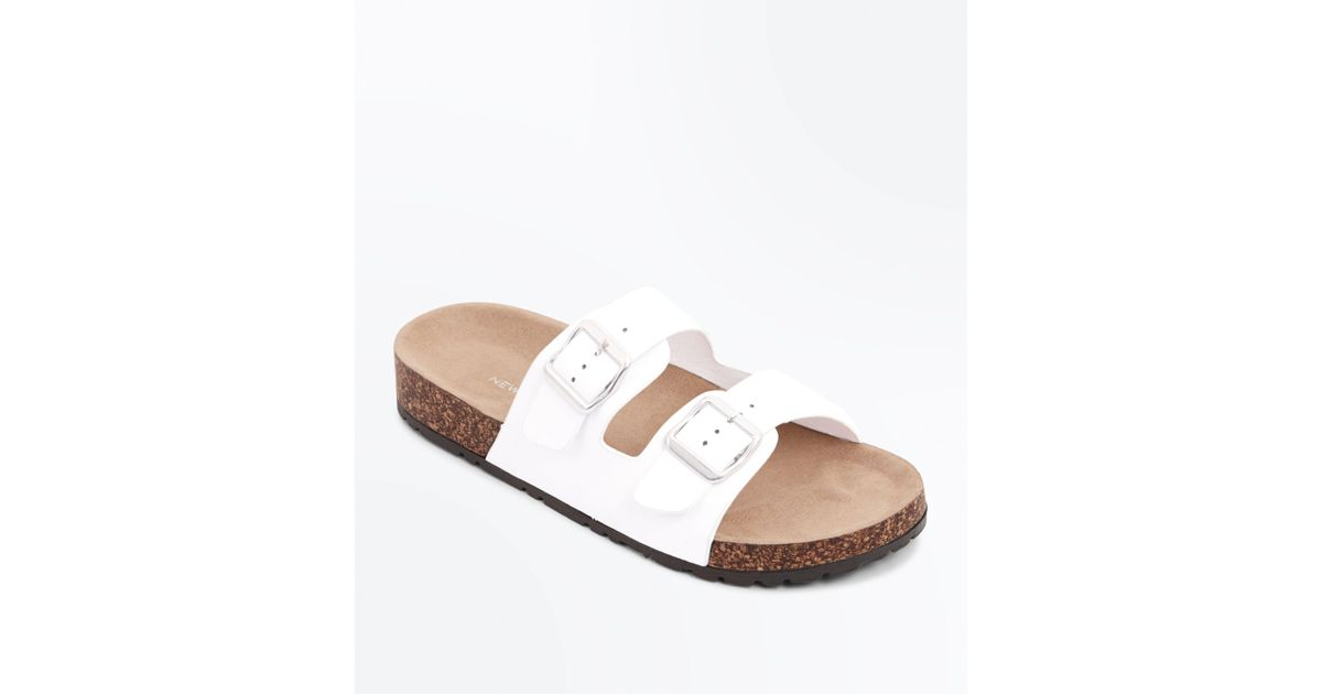 1f1c89ee74b2 New Look White Double Buckle Strap Footbed Sandals in White - Lyst