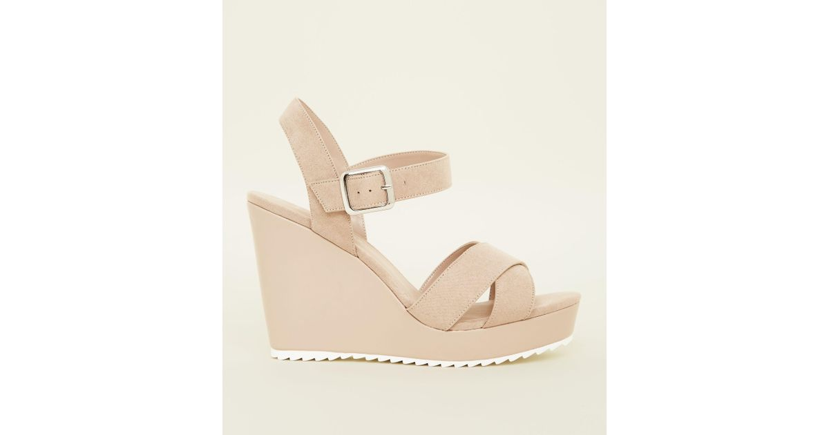 3ad6f7a79ad New Look Wide Fit Nude Cleated Wedge Sandals in Natural - Lyst