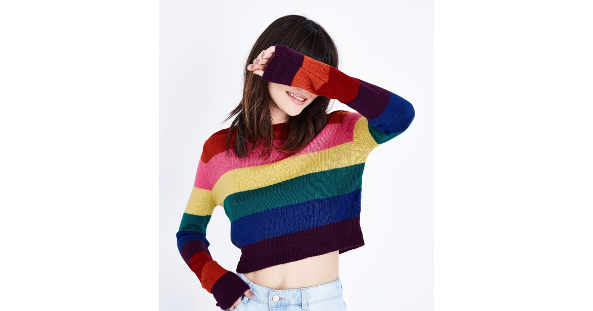 fa5ce471d74 New Look Multicolor Rainbow Stripe Cropped Jumper