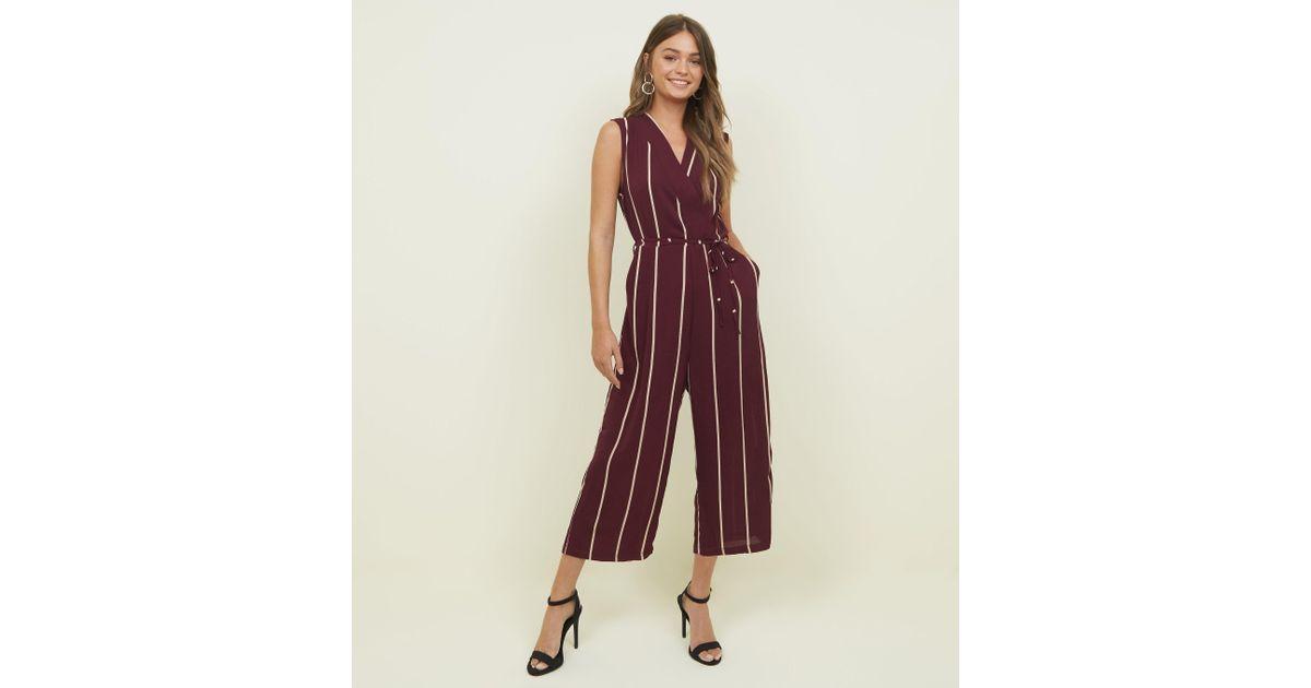 d6a8242b8719 AX Paris Plum Stripe Wrap Front Jumpsuit in Purple - Lyst