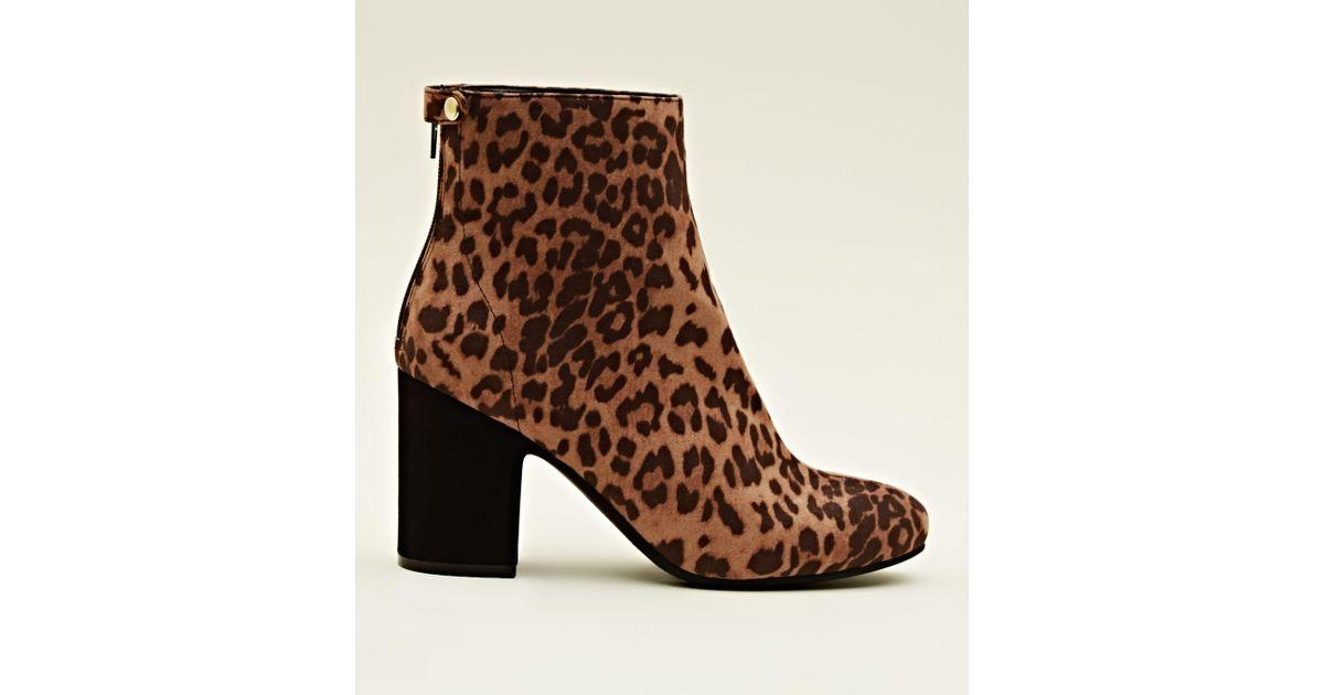 870baa9fbc6c New Look Tan Leopard Print Block Heel Ankle Boots in Brown - Lyst