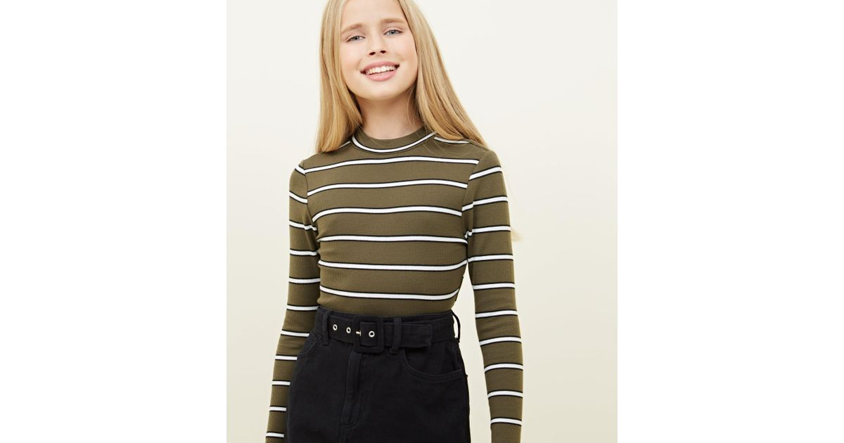 2d2e600b New Look Girls Khaki Stripe Funnel Neck Top in Natural - Lyst