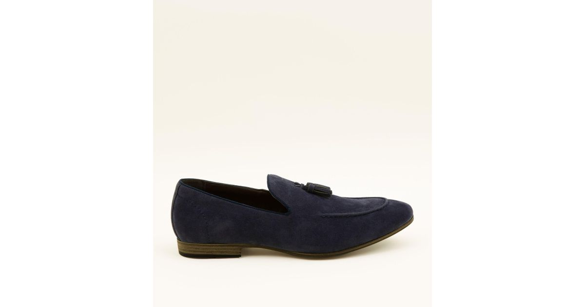 Faux Suede Loafers In Navy - Navy New Look Bivn8aw