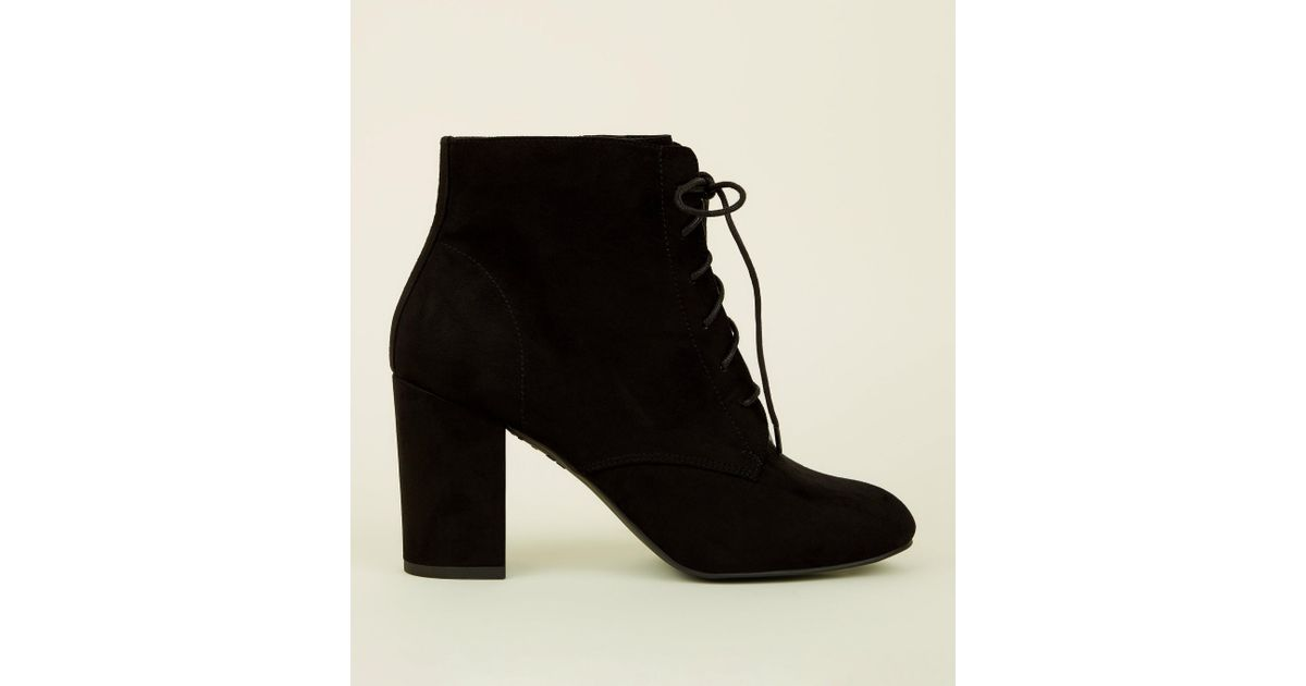 high quality fashion wholesale sales New Look Wide Fit Black Suedette Lace-up Block Heel Boots - Lyst