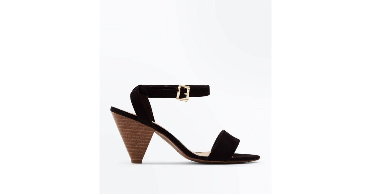a0f827a1a92 New Look Wide Fit Black Suedette Wood Cone Heel Sandals in Black - Lyst
