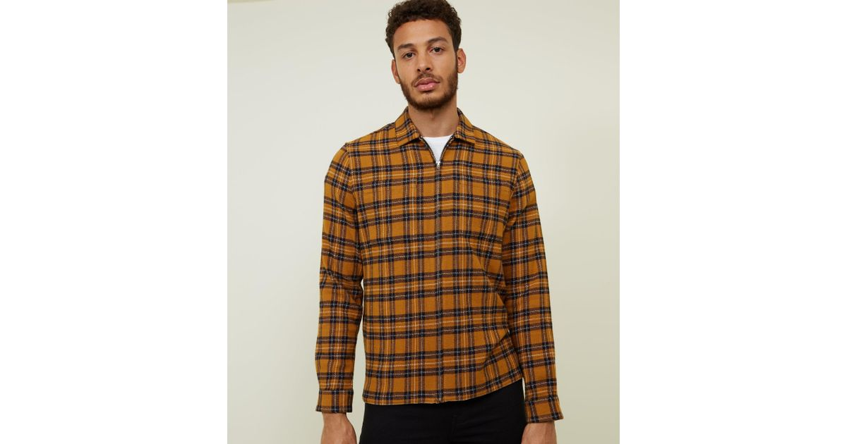 c79d1c42d New Look Mustard Tartan Check Shacket in Brown for Men - Lyst