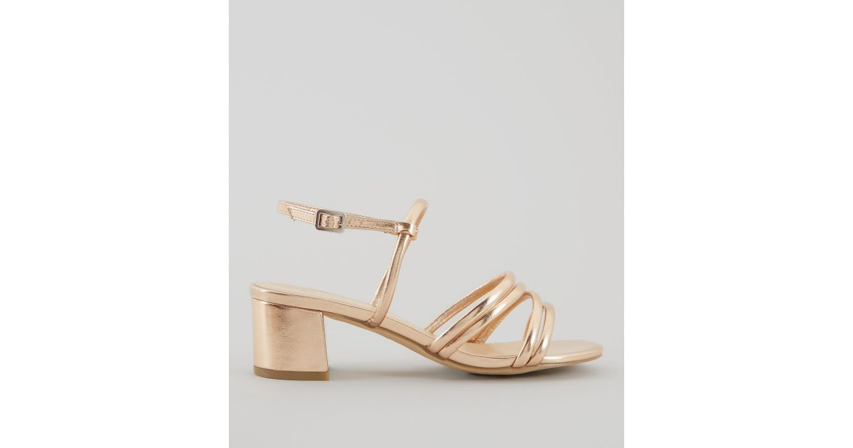 2f4ceed2532 New Look Wide Fit Rose Gold Multi Strap Low Block Heeled Sandals - Lyst