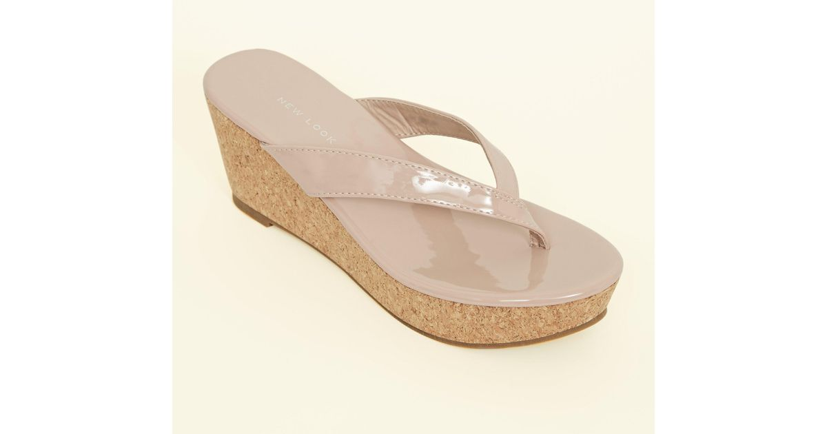 7d290f5a7ac4 New Look Wide Fit Nude Patent Cork Wedge Flip Flops in Natural - Lyst