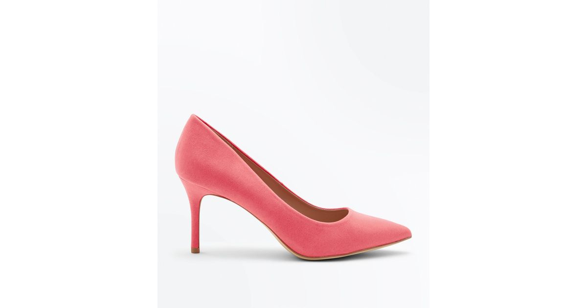 special for shoe outlet on sale new lower prices New Look Coral Suedette Pointed Court Shoes in Pink - Lyst