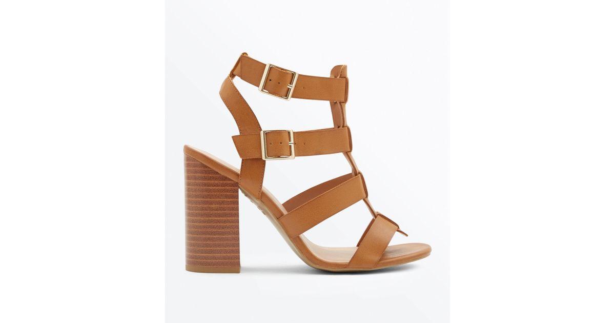 New Look Brown Tan Wooden Block Heel Gladiator Sandals