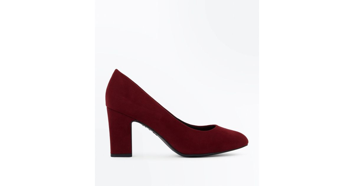 New Look Leather Wide Fit Burgundy