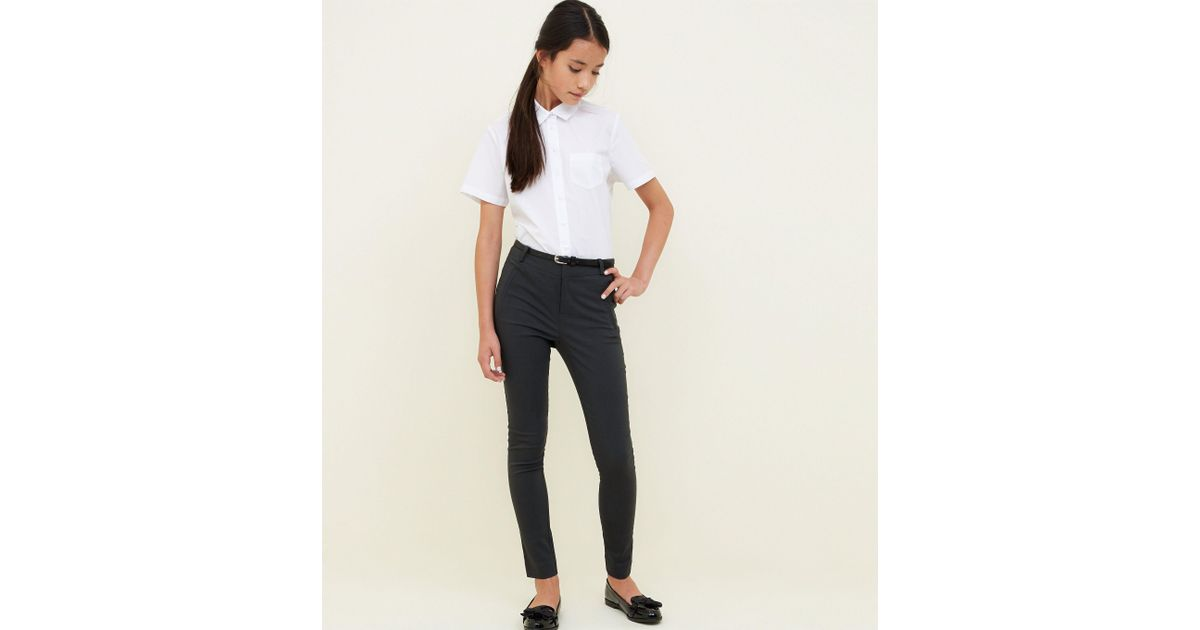 ca3cf68001 New Look Girls Grey Belted Slim Leg Trousers in Gray - Lyst