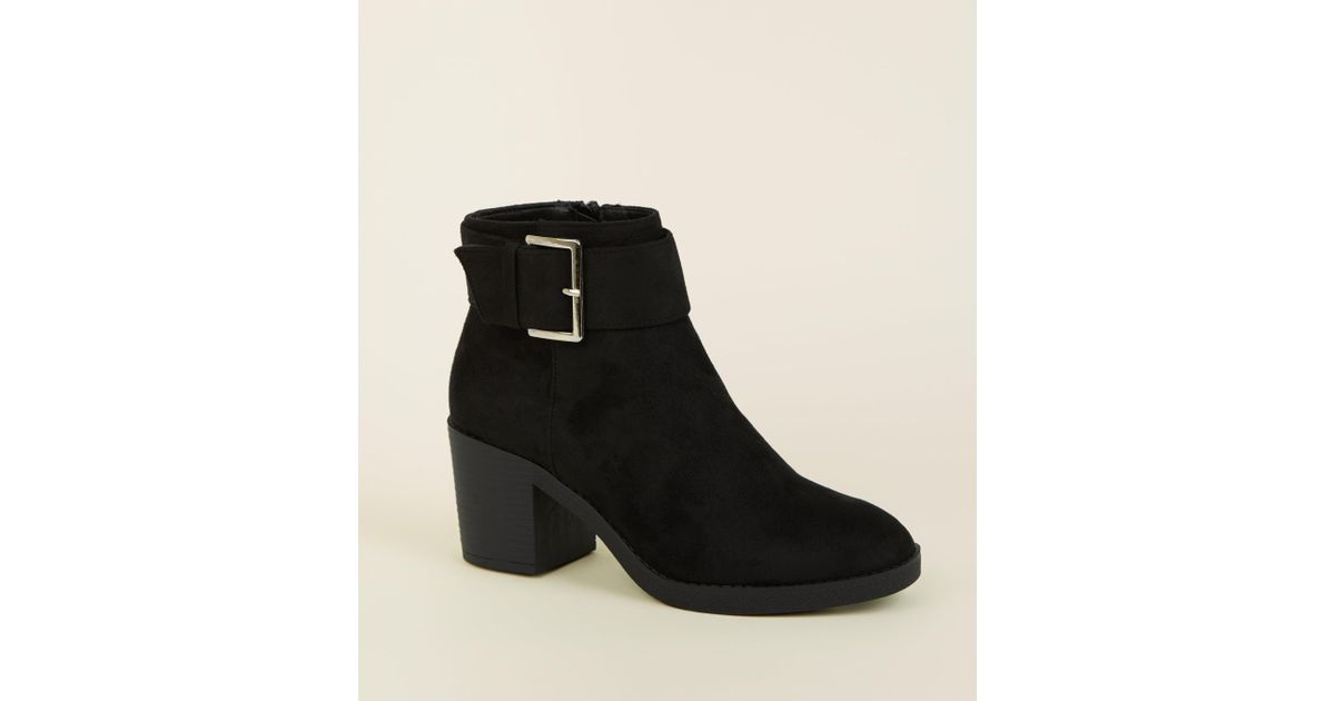73f571507de New Look Girls Black Suedette Chunky Buckle Ankle Boots