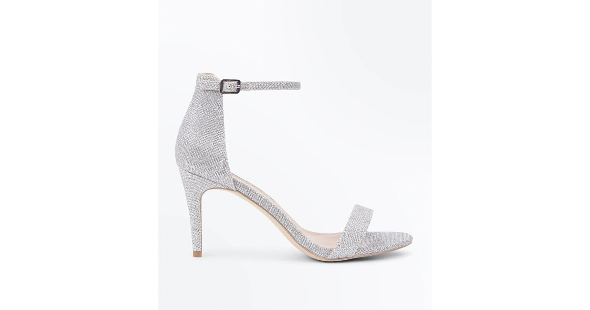 52c097fddce New Look Silver Glitter Ankle Strap Stiletto Heel Sandals in Metallic - Lyst