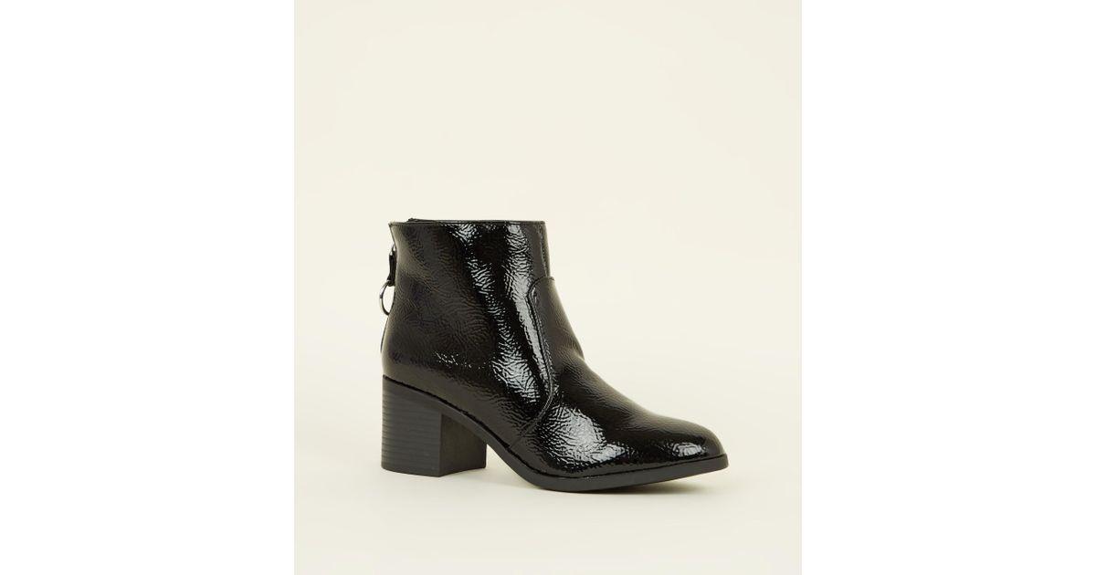 9b4a8634309 New Look Girls Black Crinkle Patent Zip Block Heel Boots