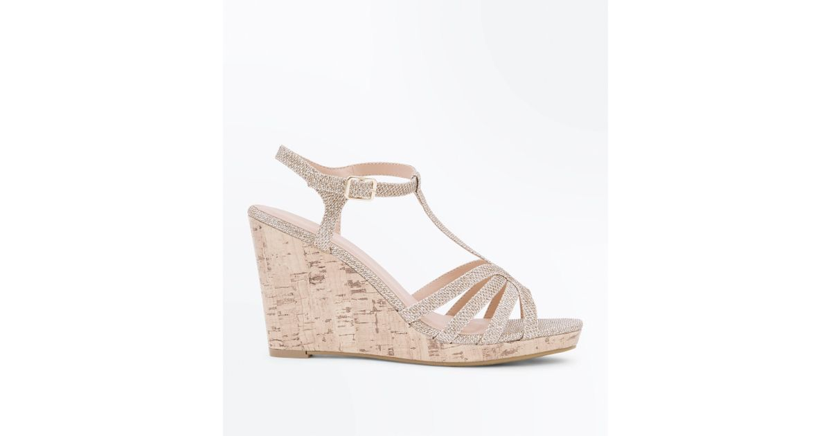 d11104af185 New Look Metallic Gold Glitter Strappy T-bar Cork Wedges