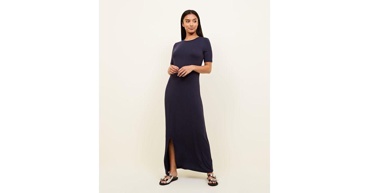 32128b152f0 New Look Petite Navy Side Split Jersey Maxi Dress in Blue - Lyst