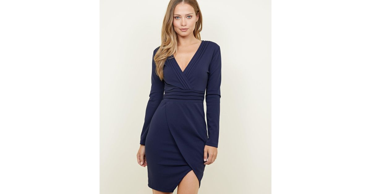 b2210917be5 Mela Navy Pintuck Wrap Front Bodycon Dress in Blue - Lyst