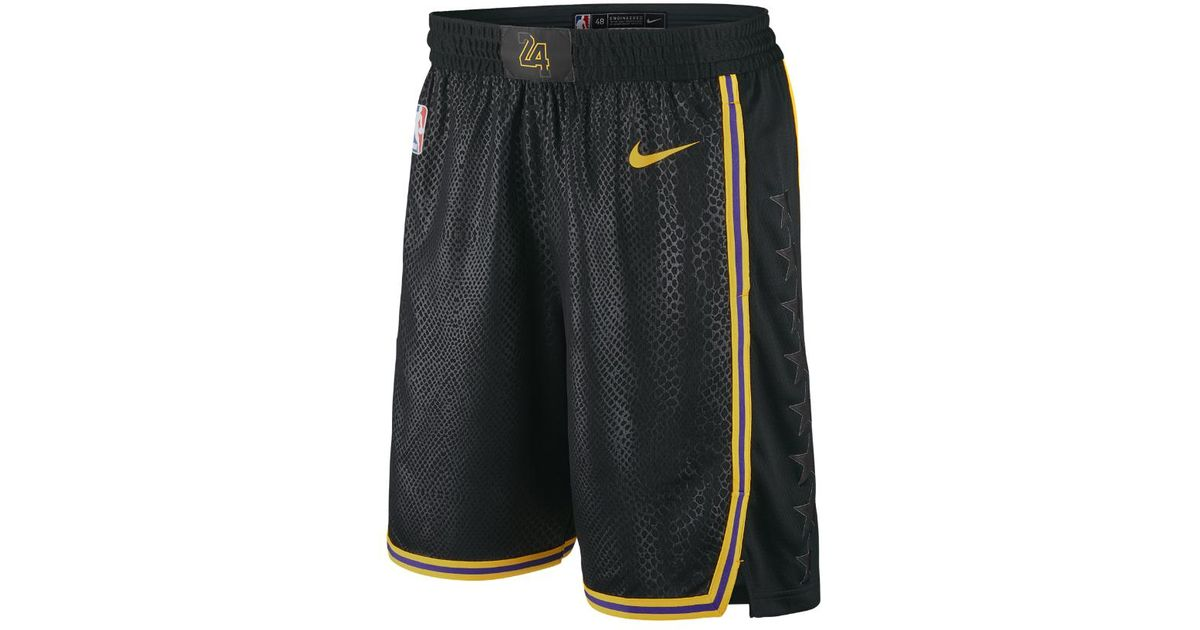 14b63ac30 Lyst - Nike Los Angeles Lakers City Edition Swingman Men s Nba Shorts in  Black for Men