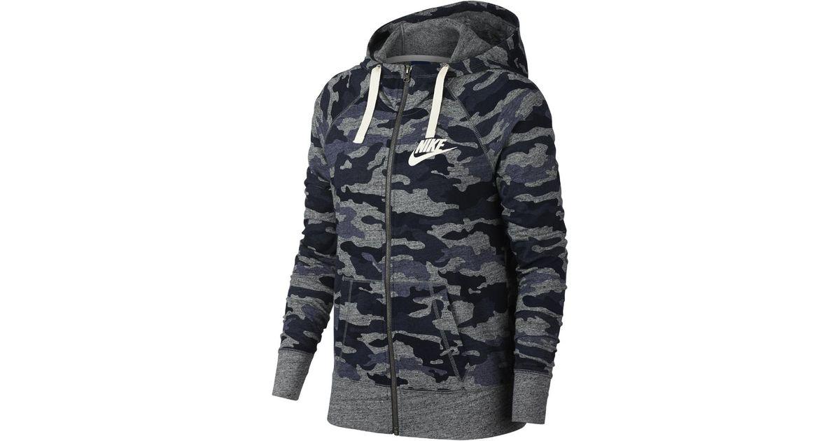 f82e4e0dcae58 Vintage In Lyst Blue Camo Full Hoodie Women's Gym Zip Nike Sportswear  LSqzpGUMV