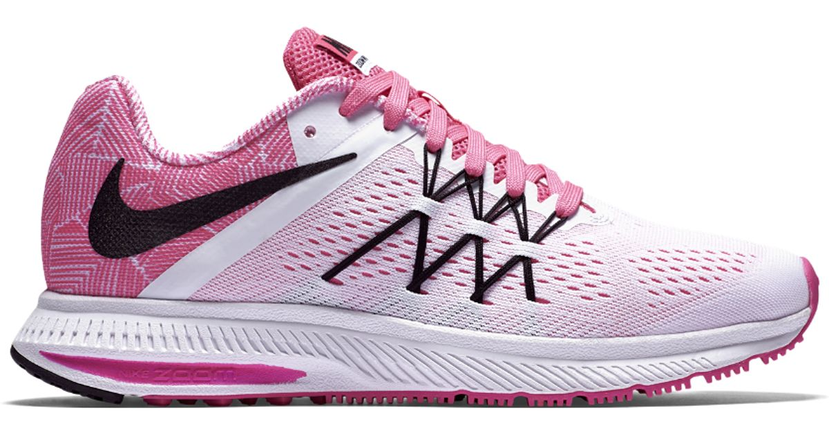 5e146bbac901 ... low cost lyst nike air zoom winflo 3 premium womens running shoe in pink  5212b 30b76